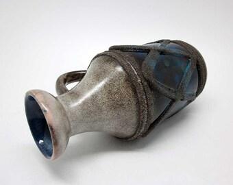 Handled fat lava vase by Strehla (VEB, 1302)