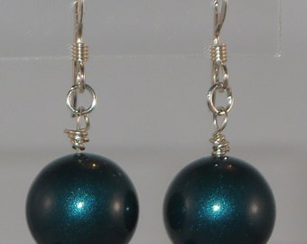Petrol Blue Swarovski Pearl Earrings