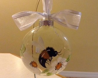 Christmas ornament, bee, flowers, hand painted