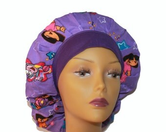 Bouffant Scrub Hat with ties - Dora the Explorer bouffant scrub hat - Ponytail Scrub hat - Custom Scrub Hat - Personalized Scrub hat