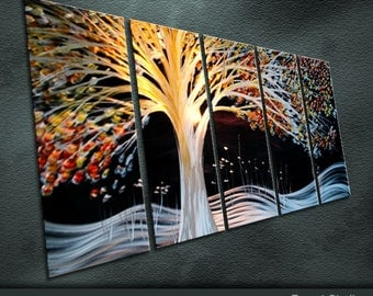 """Original Large Metal Wall Art Modern Abstract Special Indoor Outdoor Decor """"Holiday"""" by Ning"""