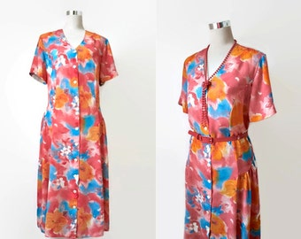 Vintage Dress - Midi - Watercolour Dress - Floral Dress - 80s 1980s - Medium / Large