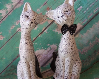 SALE Pair of Vintage Black and White Speckled Ceramic Cat Figurines