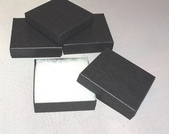 Black Matte 50 3.5x3.5x1 Cotton filled Jewelry Presentation Retail Gift Boxes, Craft Party Favor boxes