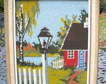 Vintage Needlepoint Tapestry Picture, Country House and Countryside, Framed , Glass