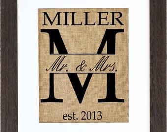 Traditional Last Name Wedding Monogram, Last Name Monogram, Weddings, Anniversaries, Birthdays, Birth, FRAME INCLUDED