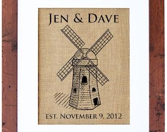 windmill monogram wedding monogram windmill art burlap wedding gift bridal monogram