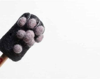 Cat Paw - black, needle felted wool Pencil Cap