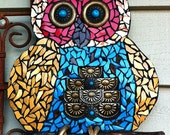 Owl Mosaic Garden Art Wall Hanging with Twig Recycled