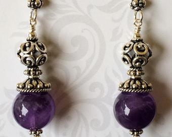 Amethyst and Bali Sterling Silver Earrings