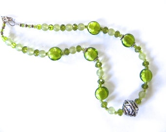 Apple green glass necklace - glass fashion necklace, green glass jewelry, casual necklace