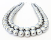 Chunky Pearl Necklace, Double Strand Pearl Necklace, Pearl Statement Necklace, Silver Pearl Necklace, Gray Pearl Necklace, Faux Pearl