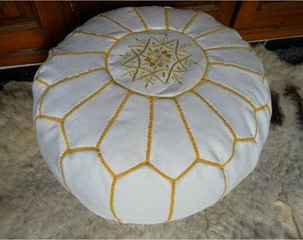 Moroccan LEATHER POUF :hand stitched / embroidered  W  Yel