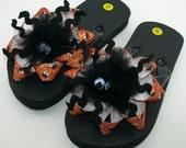 Spooky Spider Flip Flops- Childs S (Girls 8-9)