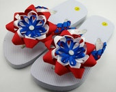 Fourth of July Flip Flops- Child L (Size 1 to 2)