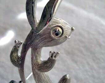 Vintage Silver Rabbit Brooch, Signed Trifari Grey Easter Bunny, Spring Brooch, Frosty Silvertone