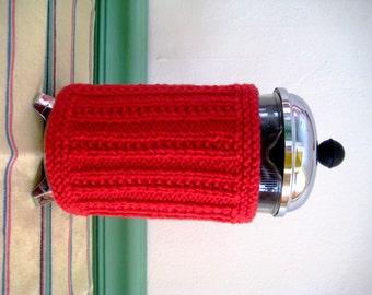 French Press Coffee Cozy, Rich Red Aran Stripe