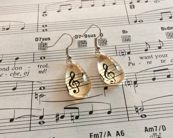 Upcycled Vintage Music Paper Glass Drop Earrings