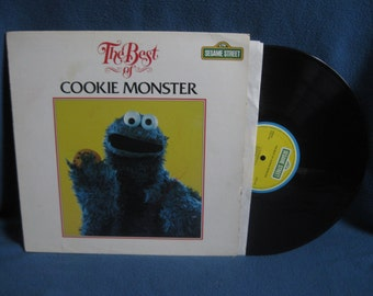 "RARE, Vintage, Sesame Street - ""Best Of Cookie Monster"". Vinyl LP Record Album, Jim Henson, Frank Oz, C Is For Cookie, Cookie Disco, Circles"