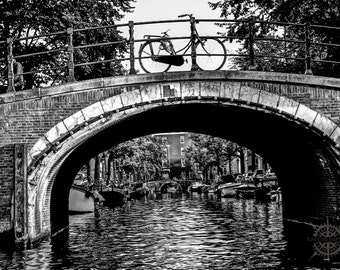 Lone Bike on Bridge: Amsterdam, Netherlands - Travel Photography [Back and White Art, Holland, Cycle Decor, Dutch Bicycle, Canal, Rust]