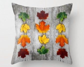 Canadian Autumn - Throw Photo Pillow; Travel Photo [Canada Woodland Maple Red Orange Yellow Green Rainbow Autumn Leaf Leaves decor Ombre]