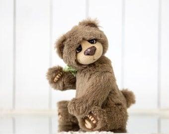 Mohair Teddy Bear Rocky + FREE shipping - Brown alpaca Jointed bear - OOAK Teddy bear doll - Collectible doll - Artist Teddy bear