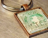 IRISH CELTIC KEYCHAIN Key Ring Vintage Stamp Ireland Copper