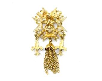 Fleur de lis / French lily and helmet heraldic pin / brooch - CORO gold, tassel and  coat of arms cross sunburst