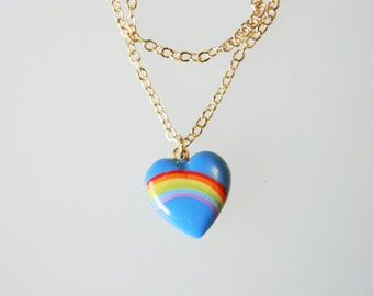Heart & Rainbow Necklace in Blue