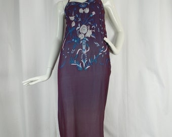Vintage embroidered silk chiffon lingerie style gown Neiman Marcus exclusive/ plum cobalt strappy: size 8? US