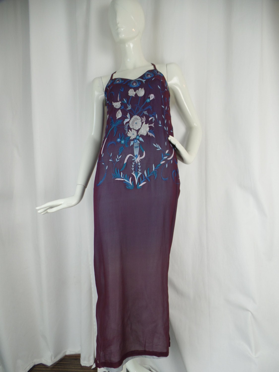 vintage embroidered silk chiffon lingerie style gown neiman