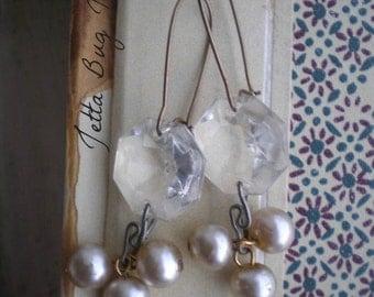 Vintage Crystals- vintage chandelier crystal earrings. vintage champagne glass pearls. vintage. bridal glam. Jettabugjewelry