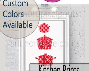 Damask Kitchen Pots inspired Art Print Collection - (1)  Wall Art Print - Custom Colors, Sizes Available