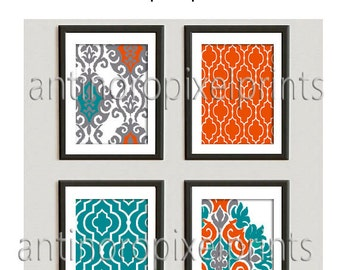 Ikat Orange Teal Green White Prints, Set of (4) Wall Art Prints, Custom Colors Sizes Available, Custom Colors Available