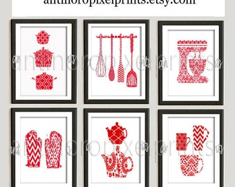 Damask Kitchen Tools Red White Art Collection  -Set of (6) - 8x10 Prints (Unframed)