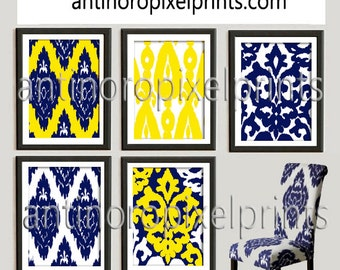 Mustard Yellow Navy White Art Prints -Pick Any (6) Prints, Set of (5) - 8x10 Prints - Custom Colors Sizes Available (UNFRAMED)