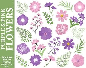 70% OFF SALE Purple & Pink Flowers Clip Art - Leaves, Flowers, Purple, Green, Lily, Branch Clip Art