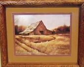 Barn Art Framed Ruane Manning 1982, vintage farmhousedecor, brown rustic style wall hanging