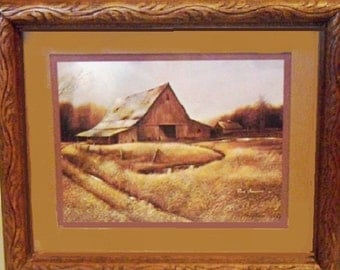 Barn Art Framed Ruane Manning 1982, vintage farmhousedecor, brown rustic style wall hanging