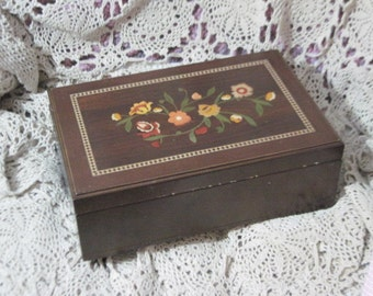 Pretty Flowered  Wooden Jewelry Box  :)Use Coupon Code CLEARINGOUT25 .Must Be used at check out can not change after paying for item...