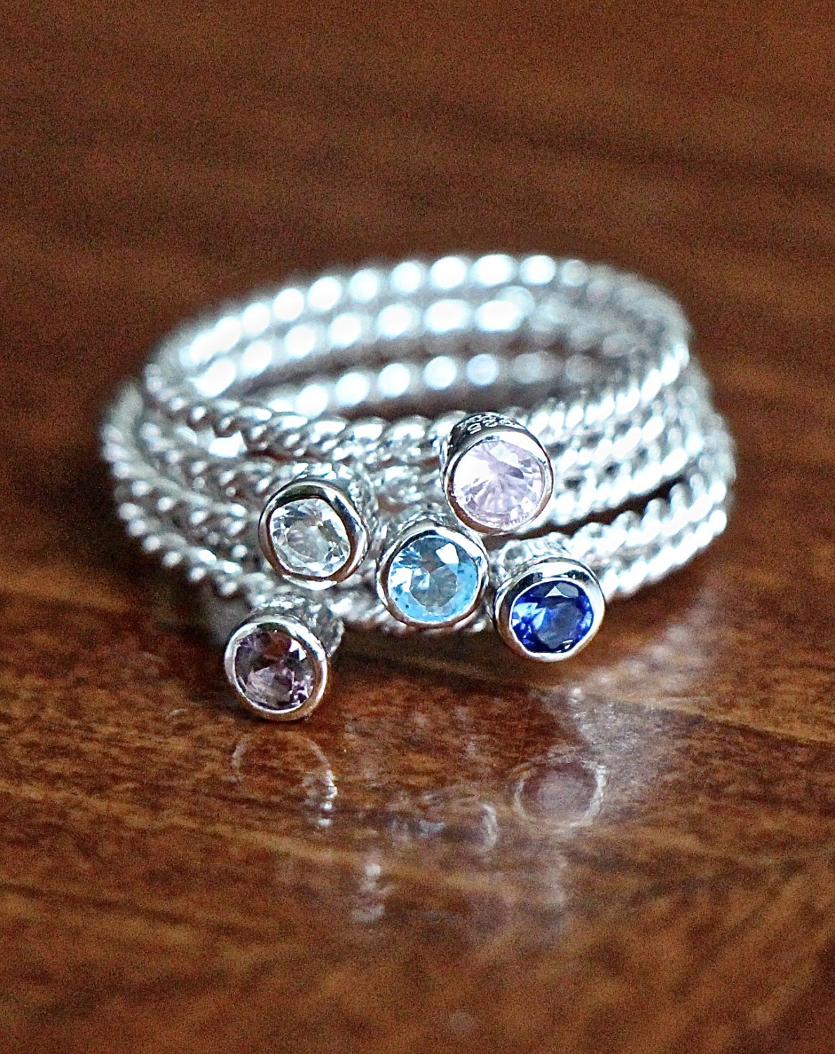 birthstone stacking ring sterling silver stackable