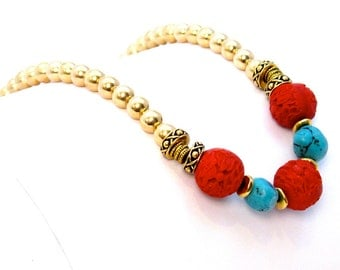Carved cinnabar turquoise nuggets gold plated beads spacers findings, on silk cord, finished with toggle clasp hand knotting necklace