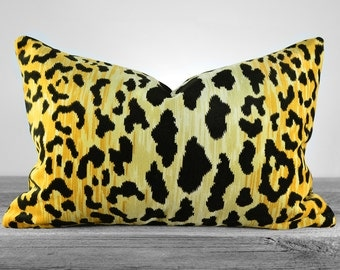 Pillow Cover - Leopard Print Cotton Velvet Fabric - LINED - Same Fabric BOTH Sides- Pick Your Size