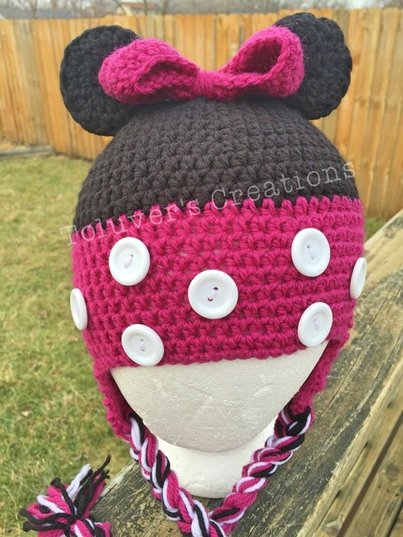 Free Minnie Mouse Crochet Hat Pattern With Ear Flaps : Minnie Mouse Hat Pattern