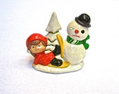 Vintage Christmas Decoration, Paper Mache Figurine, Painted Plaster Snowman and Girl on Skies, Holiday Decor, Made in Japan