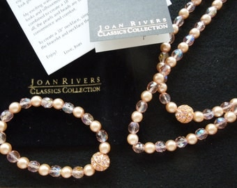 Vintage Joan Rivers Classics Collection, Pink Necklace and Bracelet Set.  Simulated Pearls.  Signed