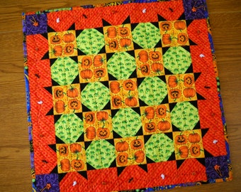 Halloween quilt table runner wall quilt holiday Halloween decoration seasonal orange black lime green hand quilted home décor