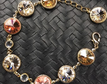 Muliti-Color Swarovski Crystal Bracelet (Peachy)