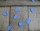 Wedding garland, Crochet Garland, crocheted hearts, Wall Hanging, Wedding blue Garland, crochet ornaments, embellishments, linen applique
