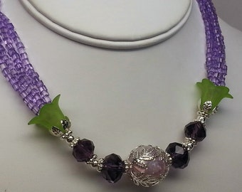 Purple and Green Swarovski Crystal Multistrand Flower Necklace - Silver, Lucite, Czech Glass, Floral, Holiday, Spring, Christmas, Gift